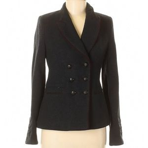 Zara Trafaluc Blue Military Peacoat Velvet Trim M